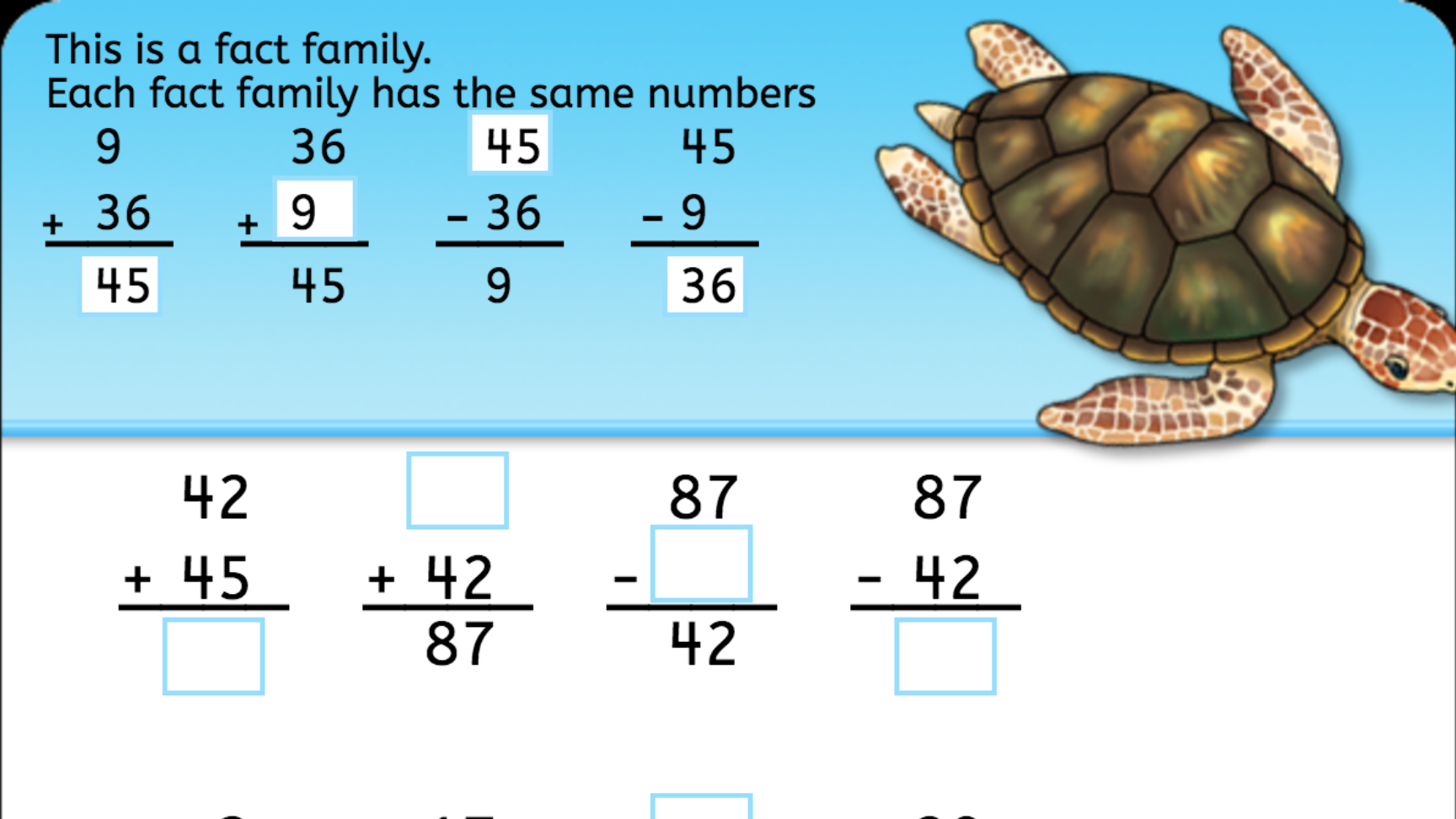 Addition Fact Family | Interactive Worksheets | Anywhere Teacher