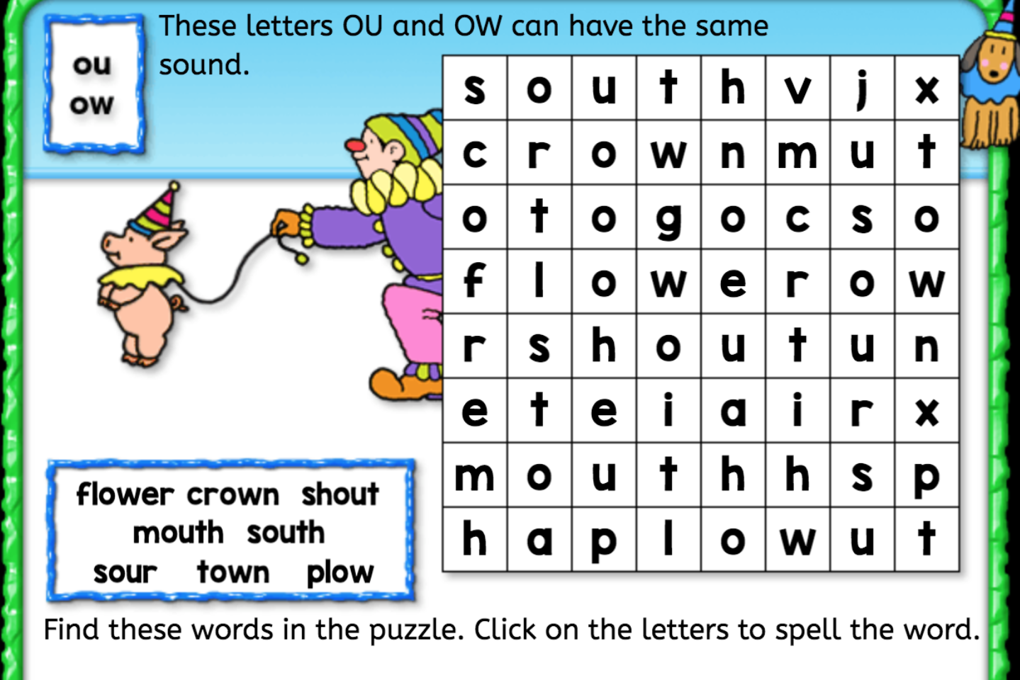 Word Search Ou Ow Interactive Worksheets Anywhere Teacher