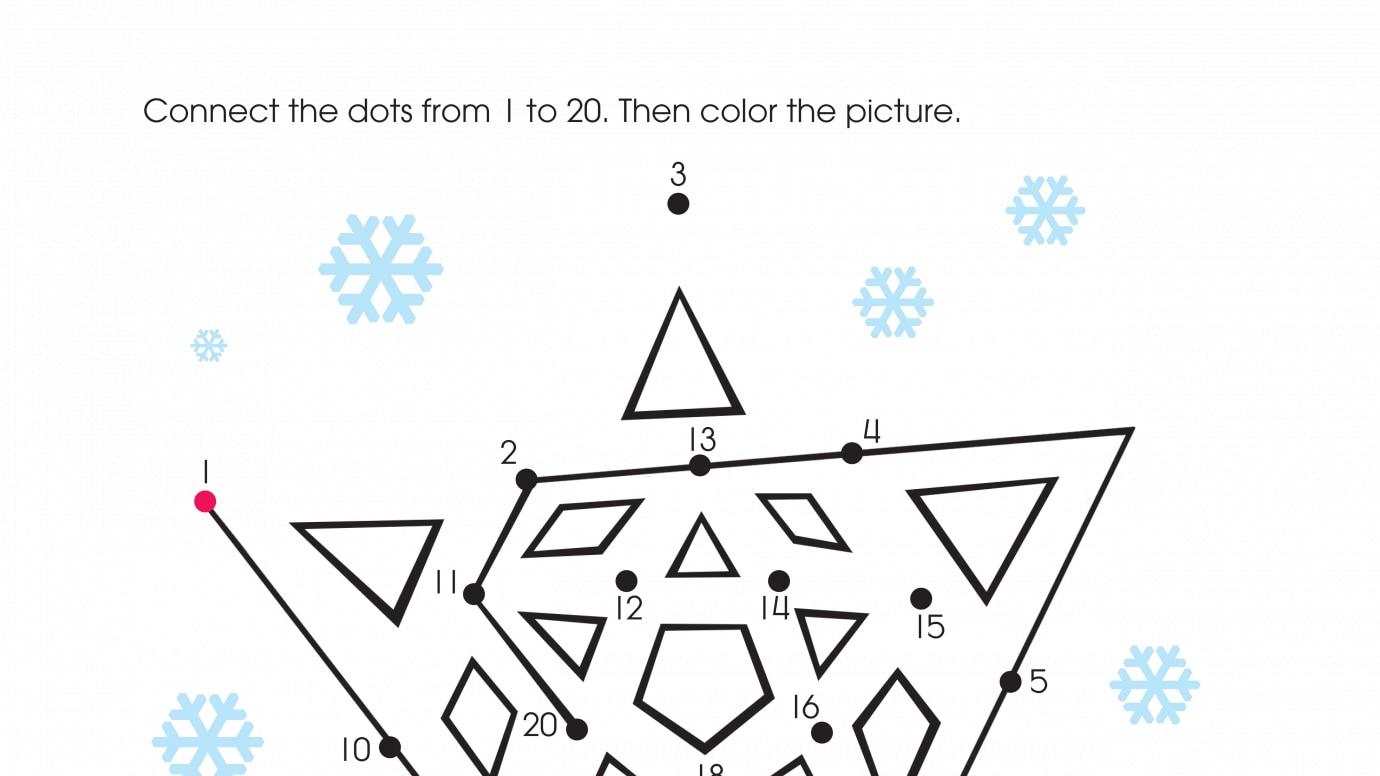 Holiday White Christmas Dot-to-Dots 1-20