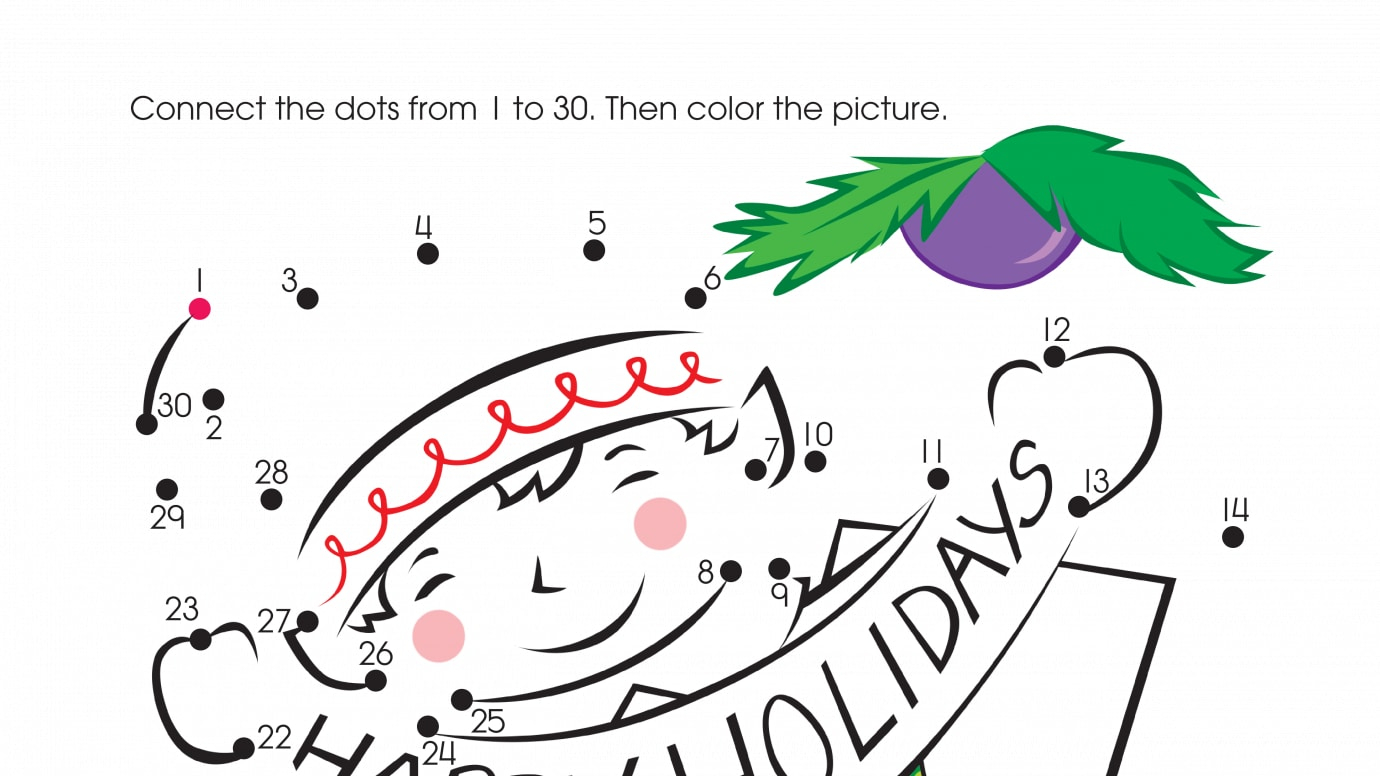 holiday here i am dot to dots 1 30 printable activities