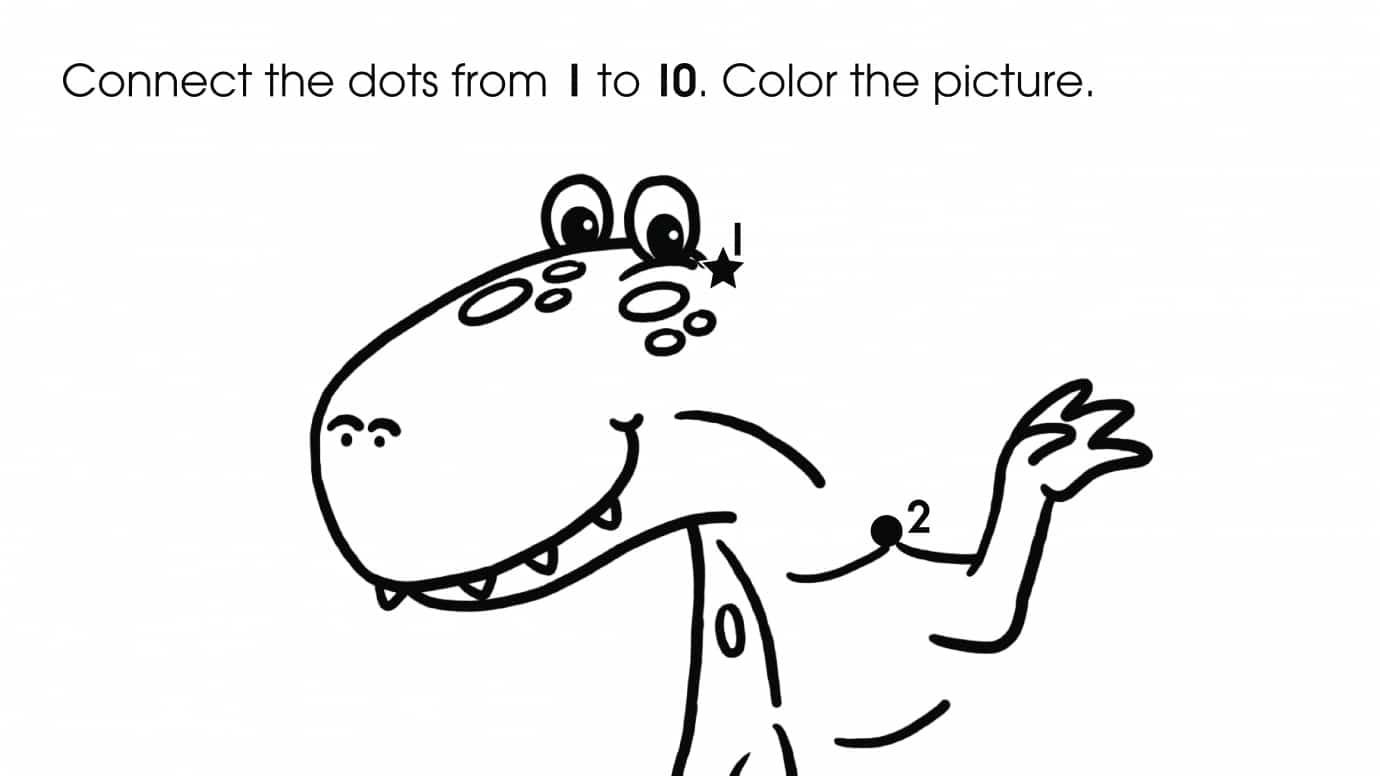 Dot-To-Dots 1-10 Dinosaur