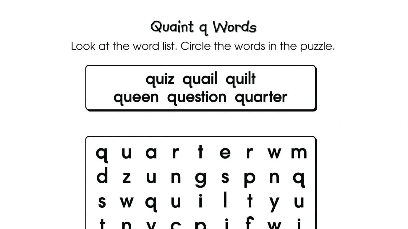 Word Search Puzzle q Words