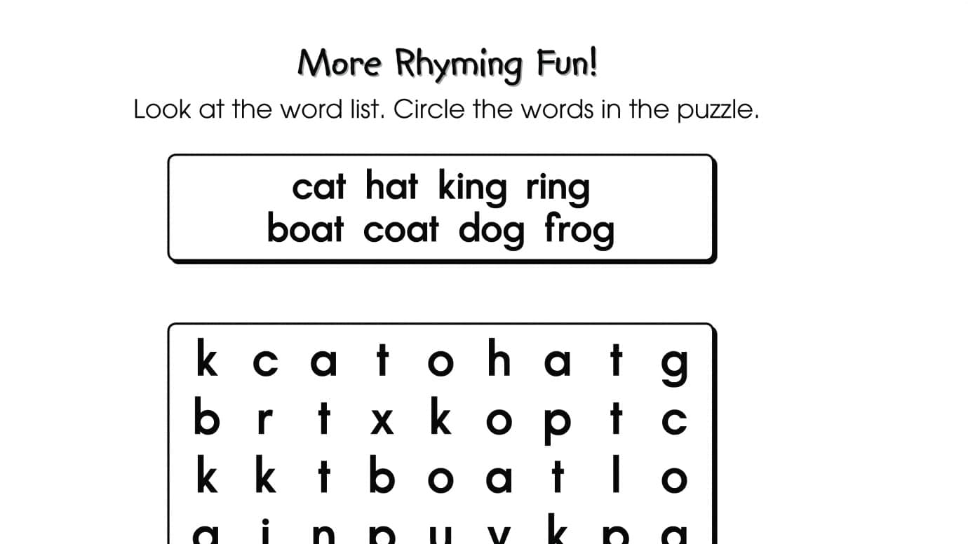 Worksheets List Of Rhyming Words For Kids word search puzzle rhyming words printable activities anywhere words