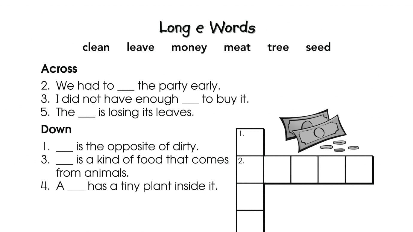 Crossword Puzzle Long e Words   Anywhere Teacher