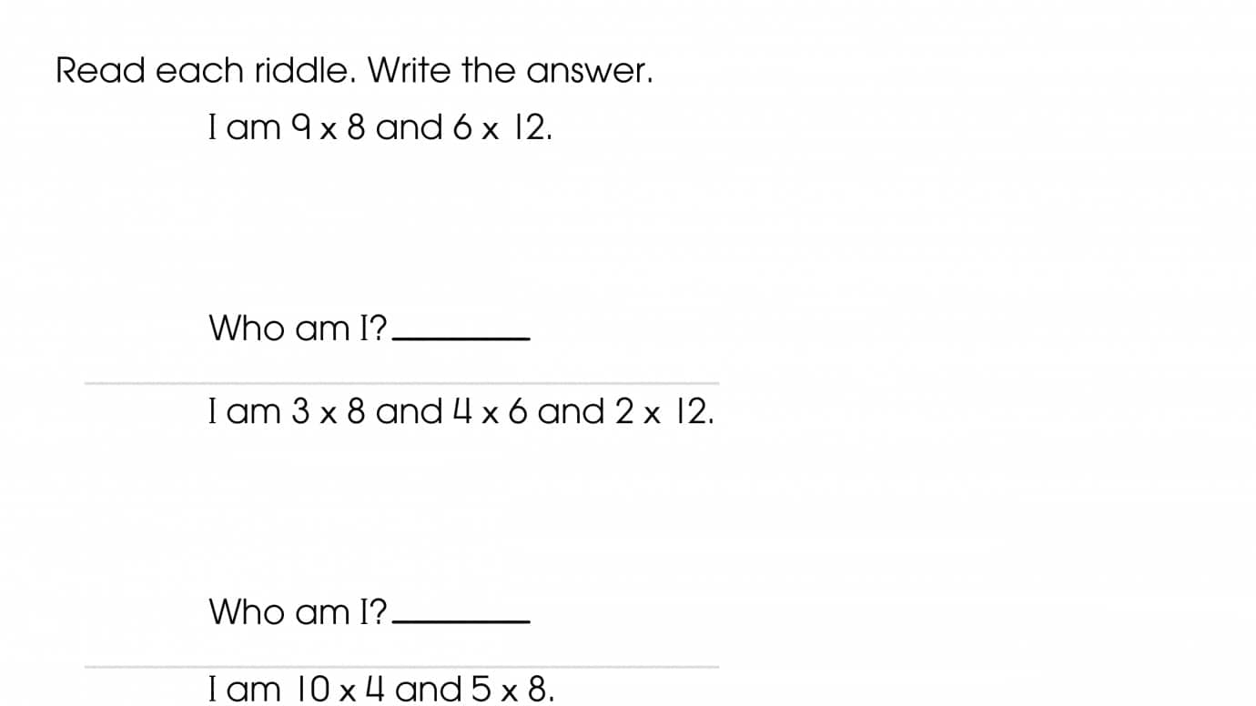 photo relating to Printable Riddles referred to as Fixing Multiplication Phrase Troubles: Riddles Printable