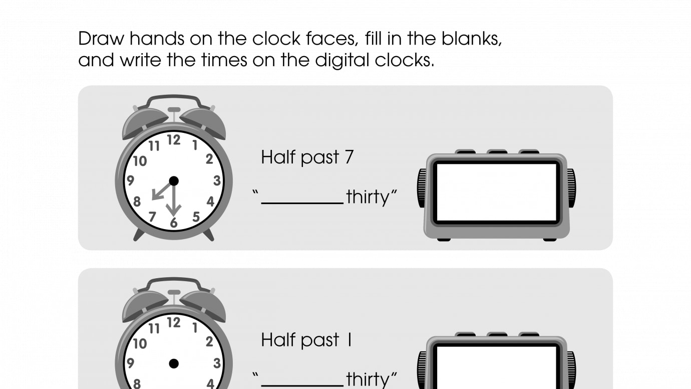 Draw the Clock Hand, Fill in the Blank, and Write the Time