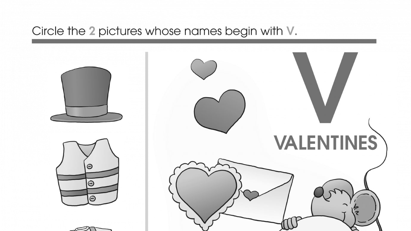 Valentine's Day Beginning Letter Sounds V