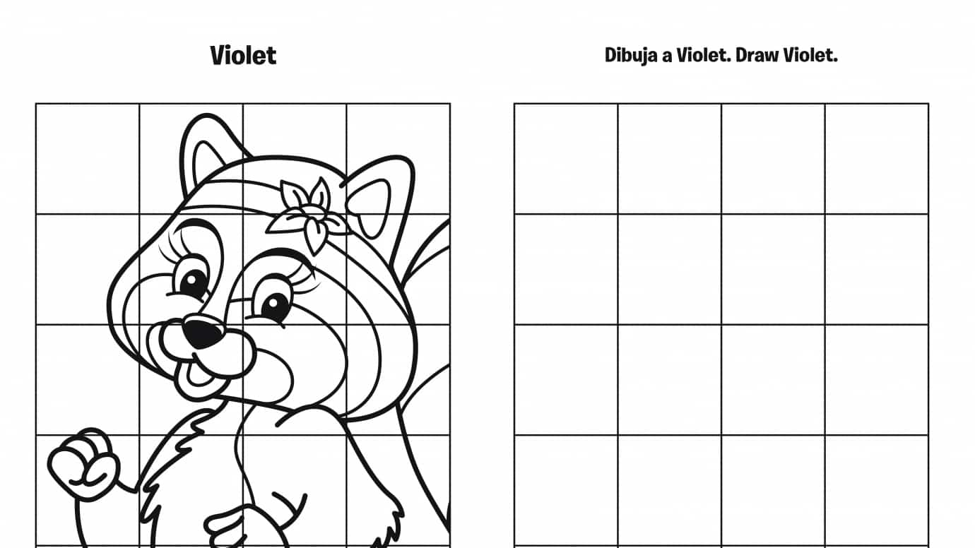Spanish & English Draw Violet Grid