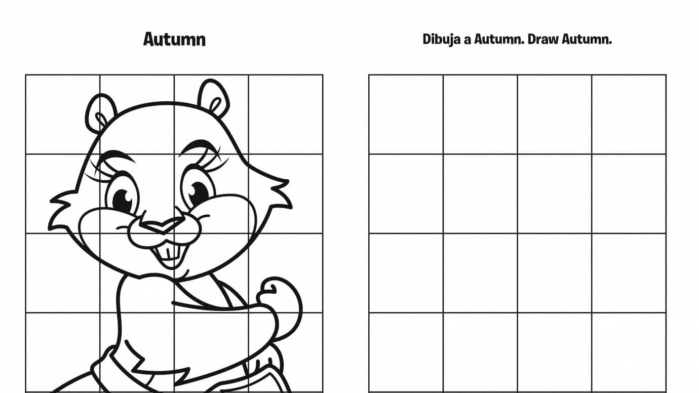 Spanish & English Draw Autumn Grid