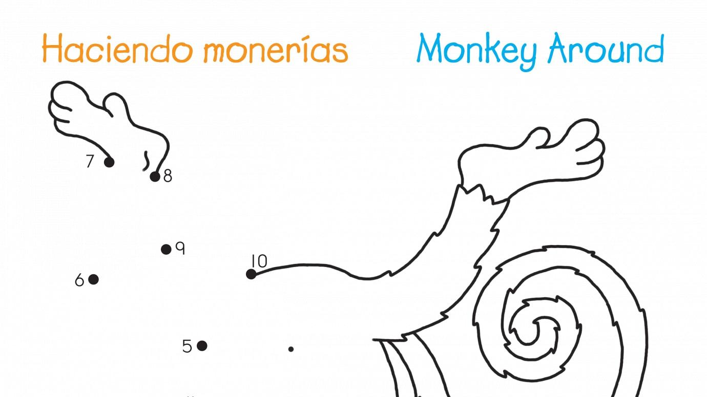 Spanish & English Monkey Around Dot-to-Dots 1-10