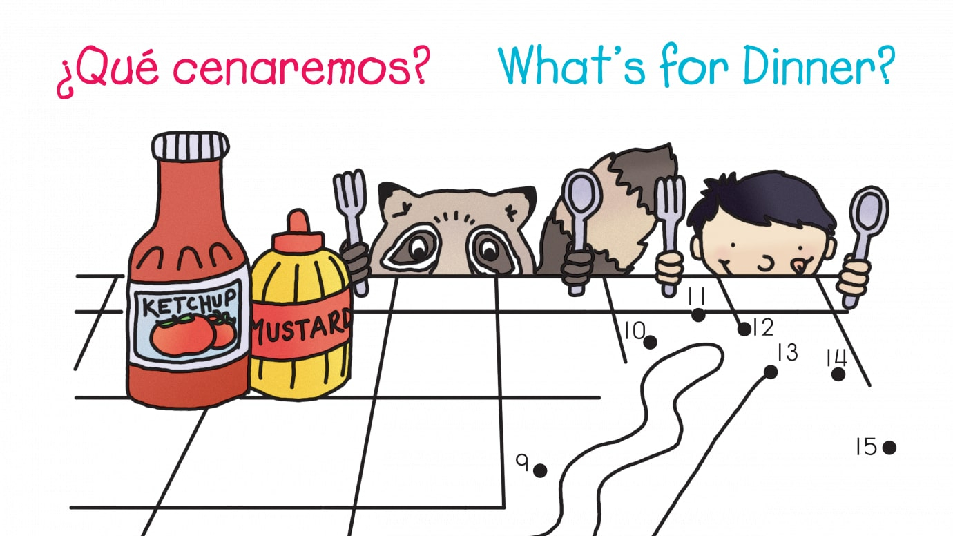 Spanish & English What's for Dinner? Dot-to-Dots 1-20