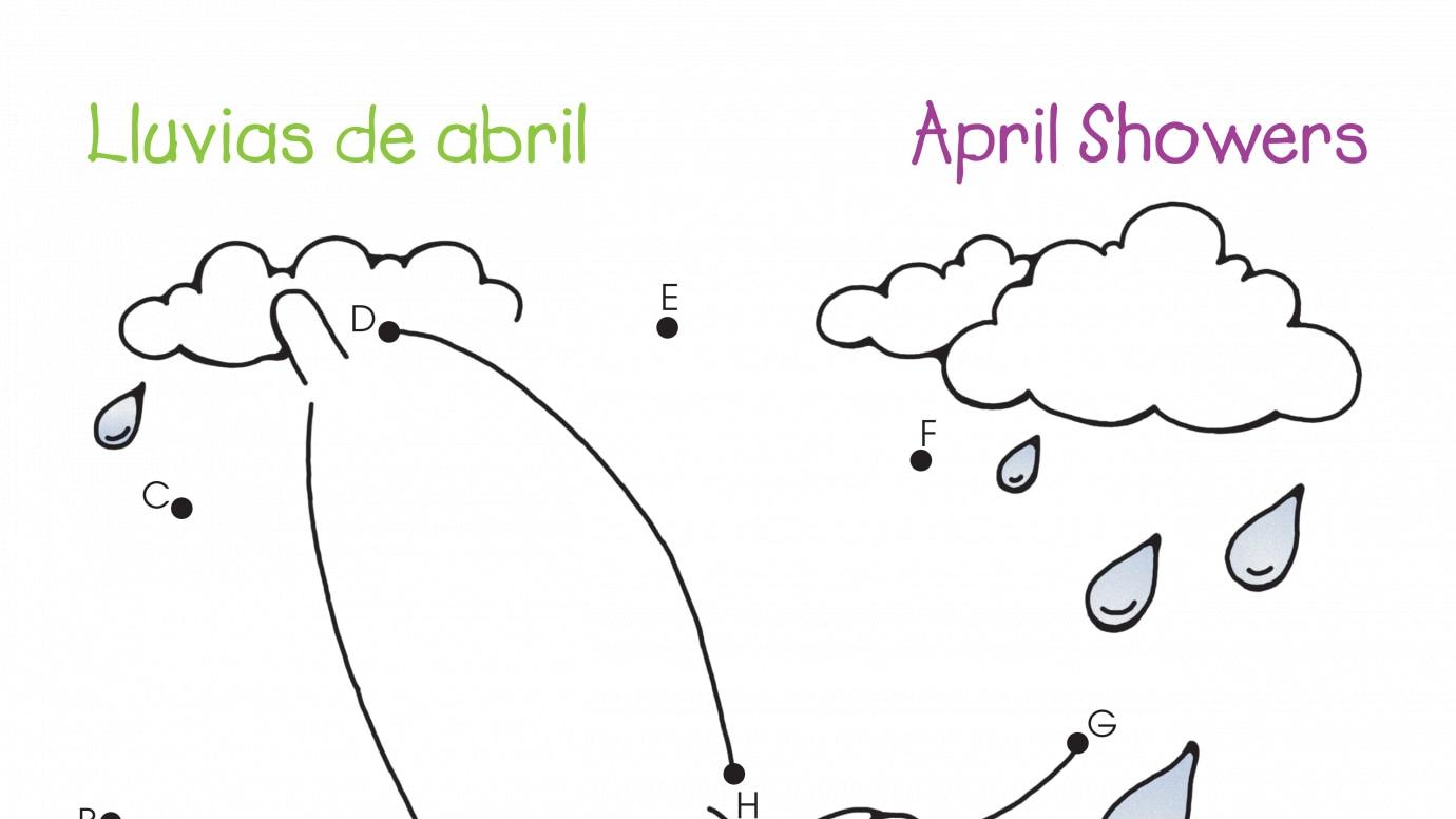 spanish u0026 english dot to dots a j april showers printable