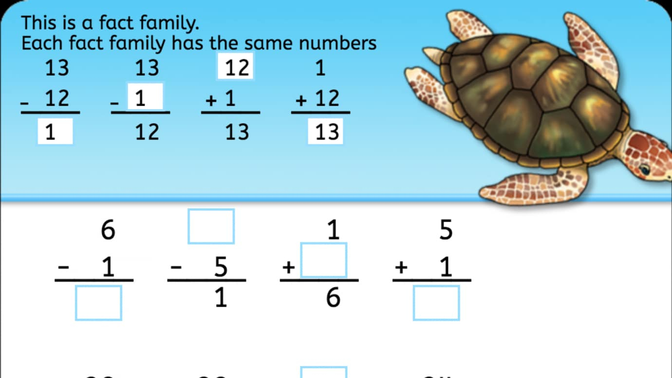 Subtraction Fact Family   Interactive Worksheets   Anywhere Teacher