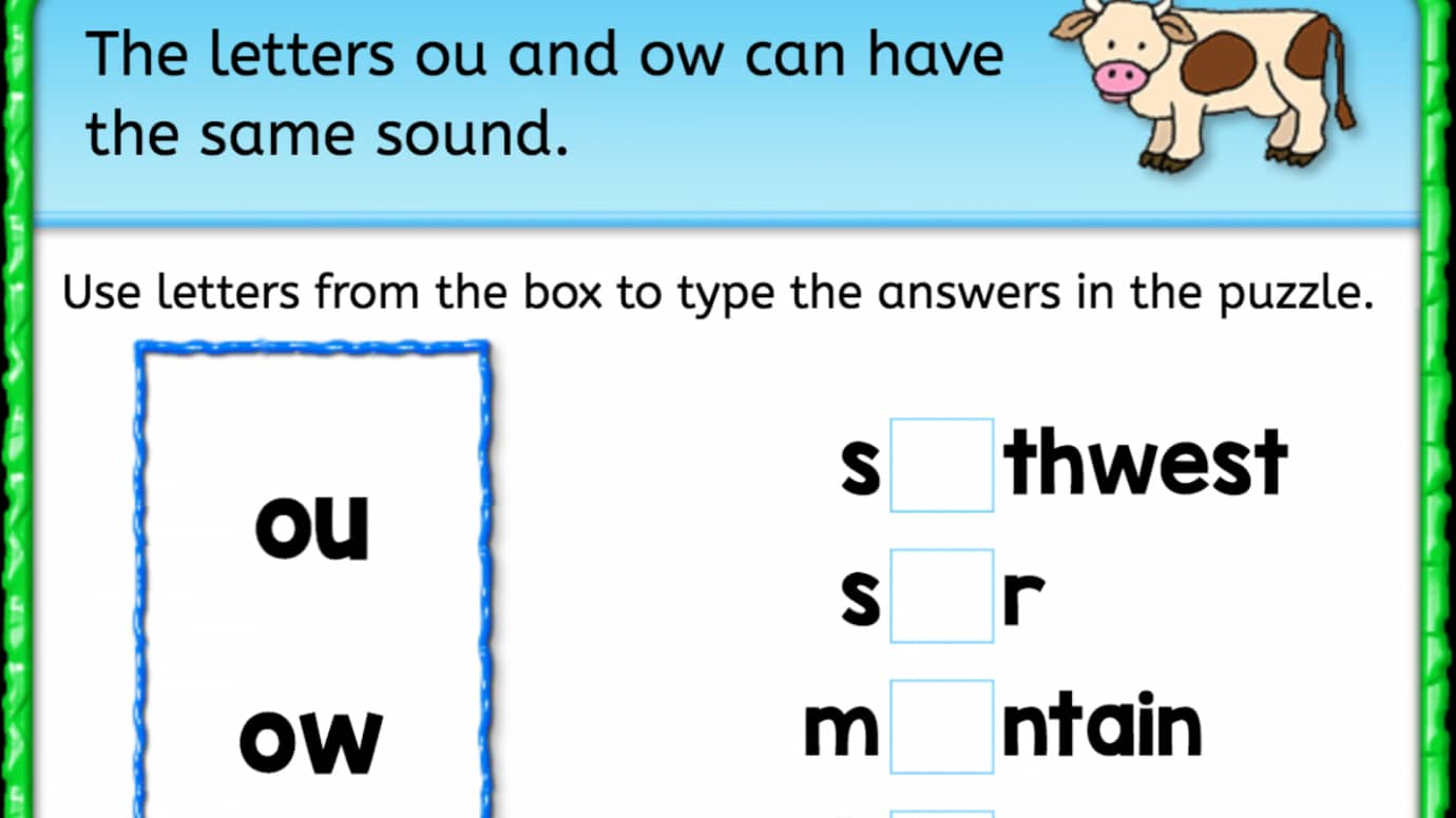 Finish the Word: Same Sound - 'ou' 'ow'