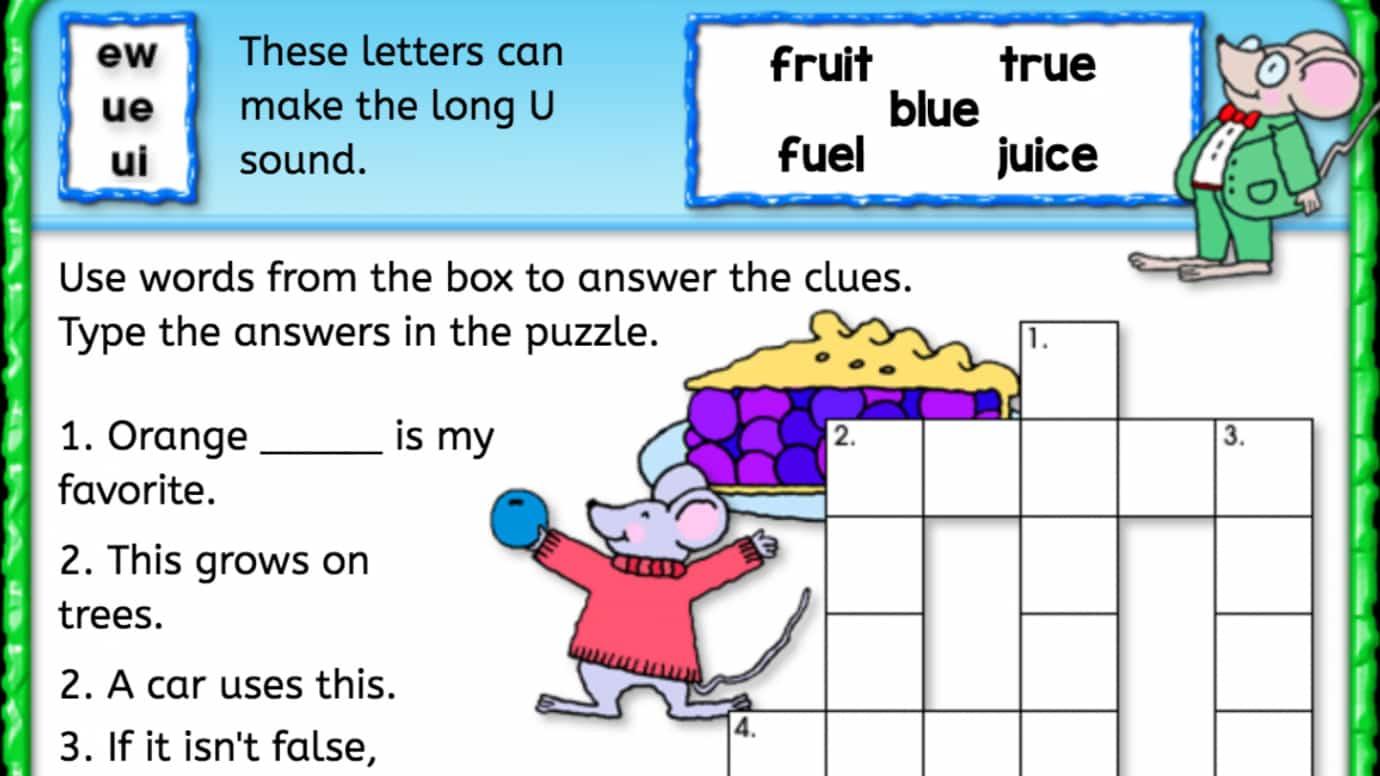 Long 'u' Sound Crossword Puzzle