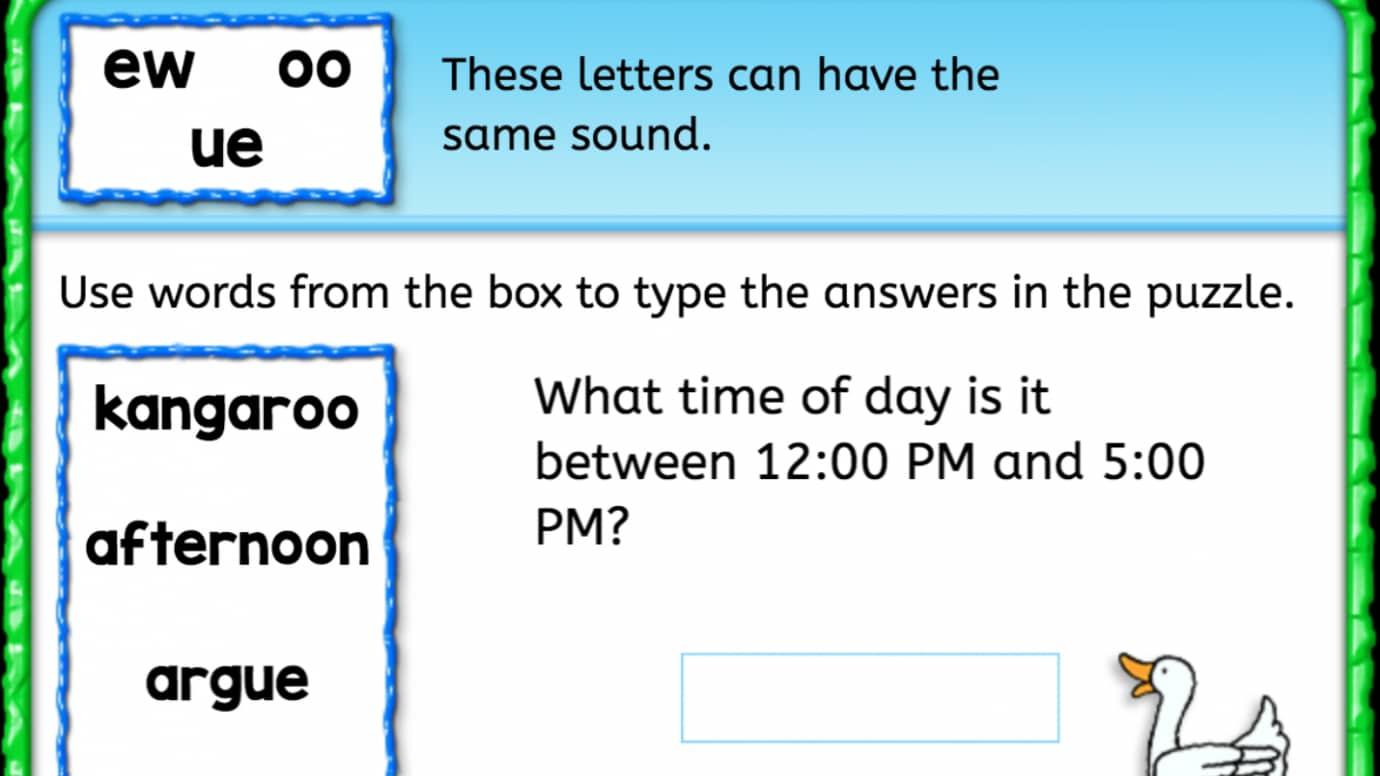 Word Bank: Same Sound - 'ew' 'oo' 'ue'