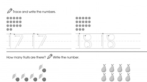 Trace & Write 17-18, Then Count & Write