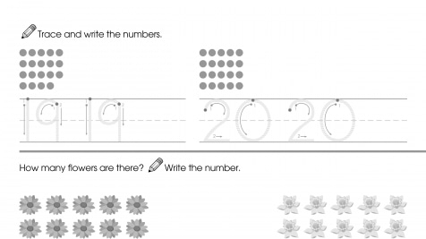 Trace & Write 19-20, Then Count & Write