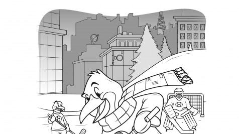 Hidden Pictures Hockey Penguin