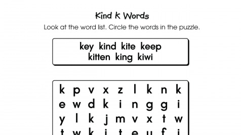 Word Search Puzzle k Words