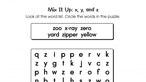 Word Search Puzzle x, y, And z Words