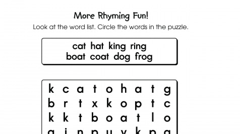 Word Search Puzzle Rhyming Words