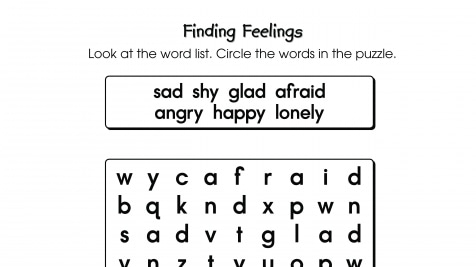 Word Search Puzzle Finding Feelings