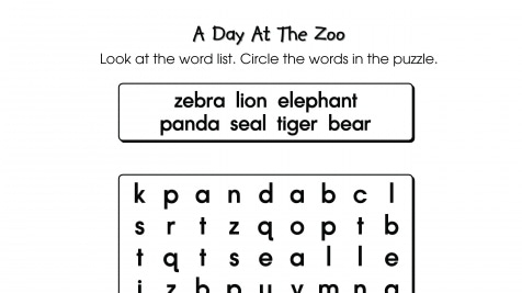 Word Search Puzzle A Day at the Zoo