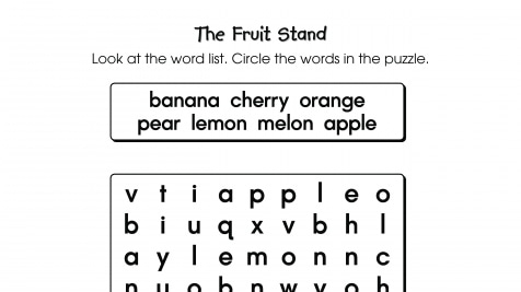 Word Search Puzzle The Fruit Stand