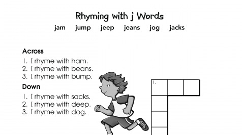 Crossword Puzzle Rhyming with j Words