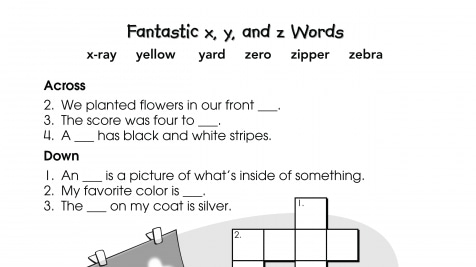 Crossword Puzzle x, y, and z Words