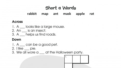 Crossword Puzzle Short a Words