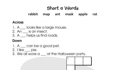 Crossword Puzzle Short a Words