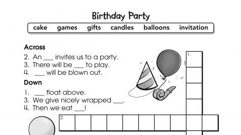 Crossword Puzzle Birthday Party