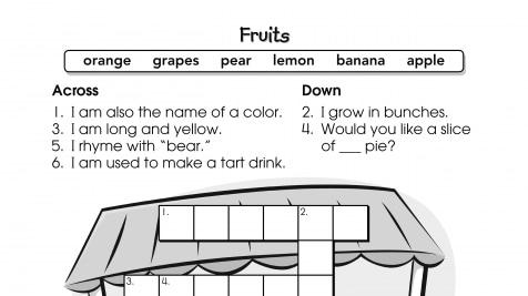 Crossword Puzzle Fruits