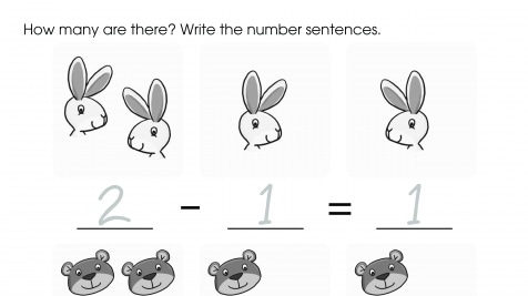 Writing Subtraction Problems to 2: Animals