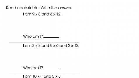 Solving Multiplication Word Problems: Riddles