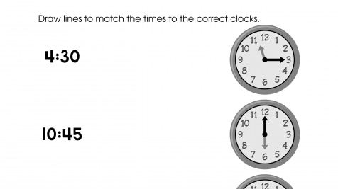 Match the Time to the Clocks