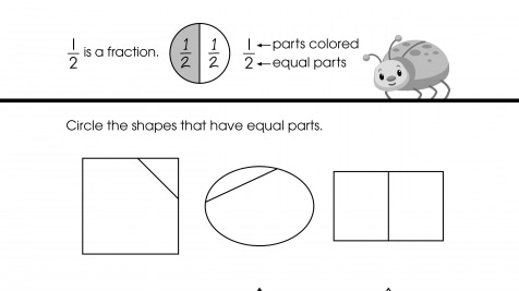 Circle & Write 1/2 Fractions