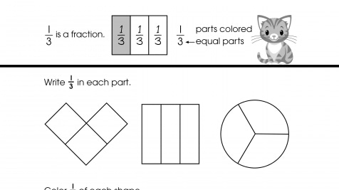 Write & Color 1/3 Fractions