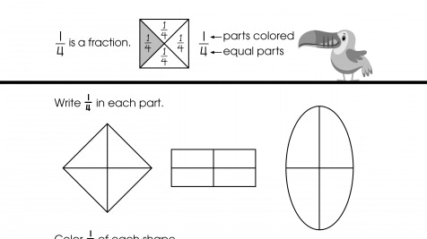 Write & Color 1/4 Fractions