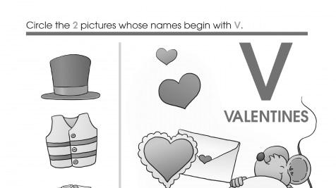 Valentine's Day Beginning Letter Sounds V