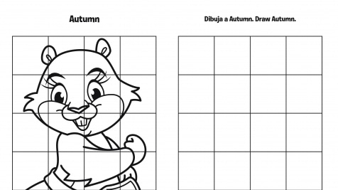 Spanish & English Draw Autumn Grid