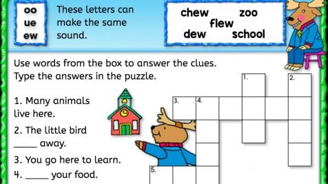 'ew' Sound Crossword Puzzle