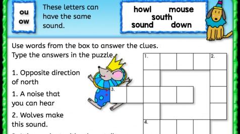 'ou' 'ow' Sound Crossword Puzzle