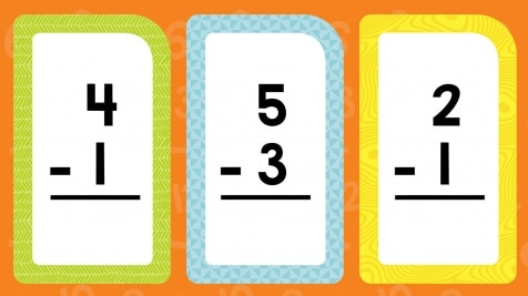 Subtraction Flash Cards Differences to 5